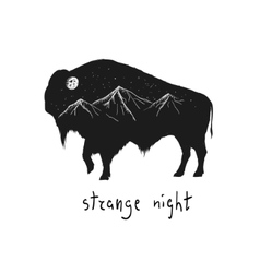 Abstract silhouette of bison vector