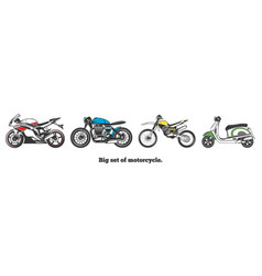 big set of motorcycles isolated vector image