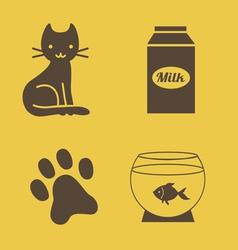 Cat theme icons vector