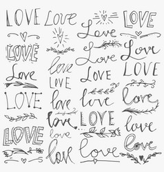set of hand-written words love lettering vector image vector image