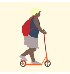 Summer activities girl on scooter flat style vector image
