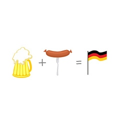 Symbols of Germany Beer and sausages Mathematical vector image vector image