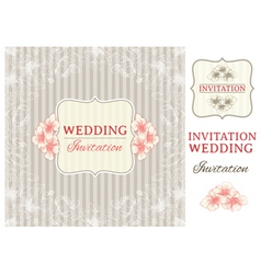 Vintage invitation card and design elements vector image vector image