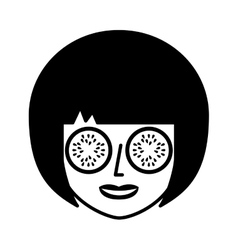 Face of woman in spa vector