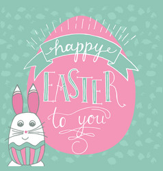 happy easter lettering and rabbit hand written vector image vector image
