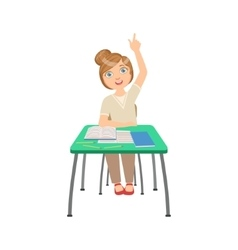 Know-it-all schoolgirl sitting behind the desk in vector