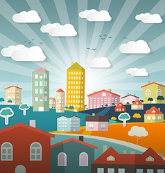 Landscape Town or City in Flat Design Retro Style vector image