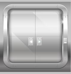 Metal double doors vector