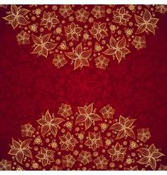 Red vintage doodle flowers background vector image