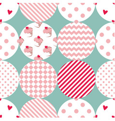 tile patchwork pattern with polka dots vector image vector image