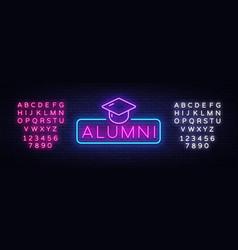 alumni neon sign graduation neon symbol vector image