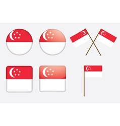 badges with flag of Singapore vector image