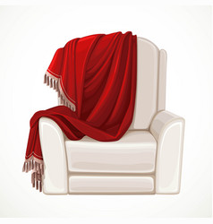 Beige comfortable armchair with dark red plaid vector