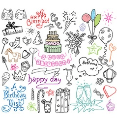 Birthday elements Hand drawn set with birthday vector image