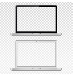 Black and white laptops with transparent screen vector