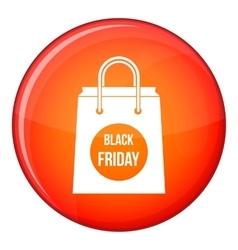 Black Friday shopping bag icon flat style vector image