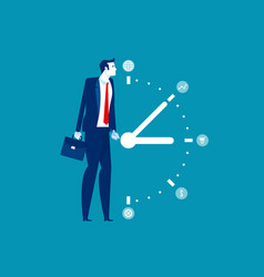 Business man and time management concept business vector