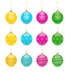 christmas balls decoration icon set vector image vector image