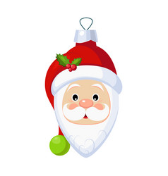 Christmas toy santa claus head greeting card with vector