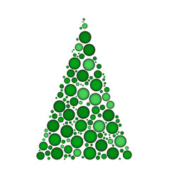 christmas tree dotted isolated on white vector image