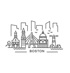 city boston in outline style on white vector image