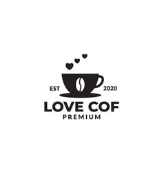 Coffee cup silhouette with steam love logo design vector