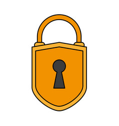 color image cartoon padlock with shield body and vector image