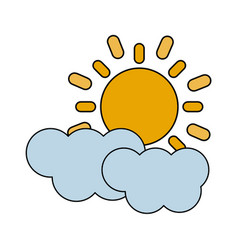 color image cartoon sun and cloud weather icon vector image