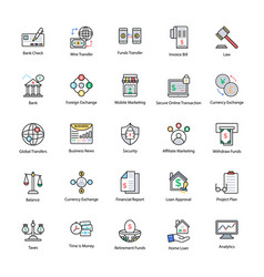 colored line icons of business and finance vector image