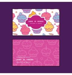 Colorful cupcake party horizontal frame pattern vector