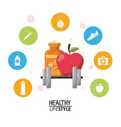 Colorful poster with elements sport healthy vector