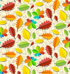 Colorful Seamless Leaves Pattern with Hand Drawn vector image