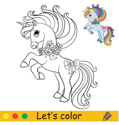 coloring cute little unicorn with flowers vector image