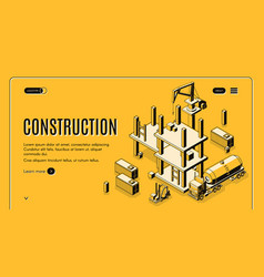 construction project isometric web banner vector image