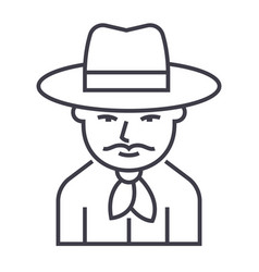 cowboy line icon sign on vector image