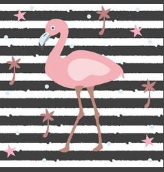 Creative summer pattern with exotic bird flamingo vector