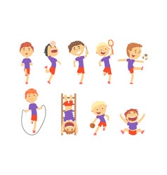 cute happy boys doing sports set activity kids vector image