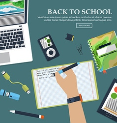 Desk schoolboy with exercise books and stationery vector image