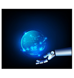 digital datas on hologram with robot hand screen vector image