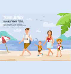 family vacation on beach vector image