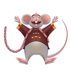 Fat mouse rat is rest spreading paws 2020 on vector