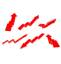 financial arrows up and down red 3d signs vector image