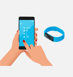 Fitness bracelet or tracker with a smartphone vector