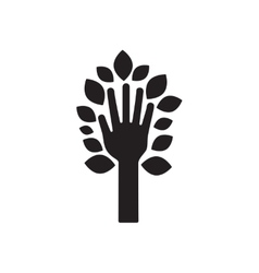 Flat icon in black and white leaves hand vector