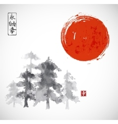 Forest trees ammd red sun hand drawn with ink vector