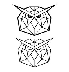 geometric owl head design polygonal animal vector image