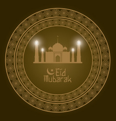 Geometric round arabic frame with eid mubarak vector