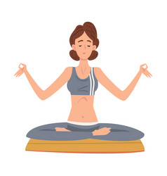 girl sitting and meditating in yoga lotus vector image