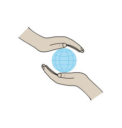 globe on palms on white background sign modern vector image
