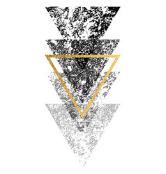 grunge black shapes triangles with gold vector image